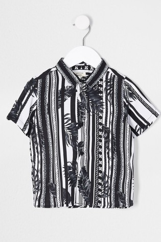 River Island Black Mono Leaf Stripe Shirt