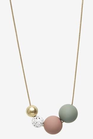 Oliver Bonas Gold Tone Boca Rubber Bead Necklace