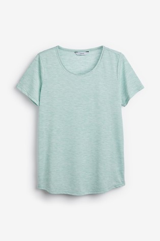 Mint Cut Metallic Scoop T-Shirt
