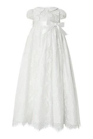 Monsoon Children White Baby Provenza Silk Christening Gown