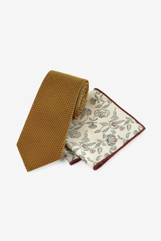 Gold Regular Signature Tie With Pocket Square Set
