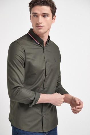 Khaki Slim Fit Stretch Oxford Tipped Collar Long Sleeve Shirt