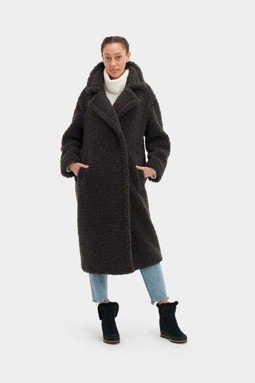 UGG Black Gertrude Teddy Long Coat