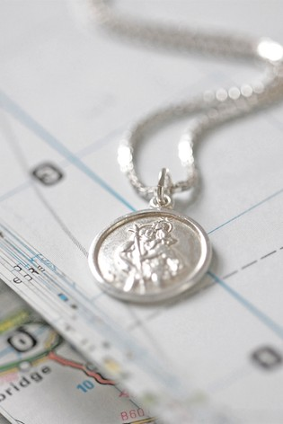 Personalised Sterling Silver St Christopher Necklace by Oh So Cherished