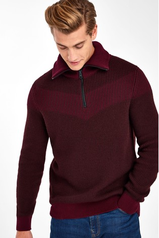 BOSS Red Ayfair ¼ Zip Ribbed Jumper