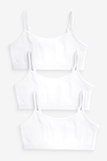 White 3 Pack Strappy Crop Top (Older)