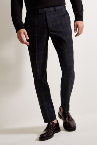 Moss London Green Tartan Trousers