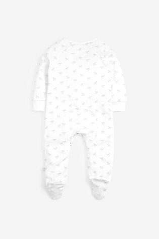 The Little Tailor White Jersey Print Rocking Horse Sleepsuit