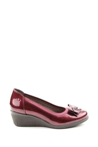 Heavenly Feet Cynthia Patent Wedge Ballerina Shoes