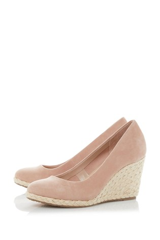 Dune London Blush Pink Annabels Cappuccino Suede Heeled Wedge Shoes