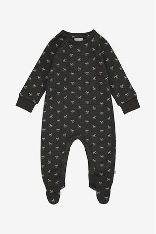 The Little Tailor Grey Jersey Print Rocking Horse Sleepsuit