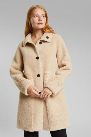 Esprit Brown Faux Fur Jacket