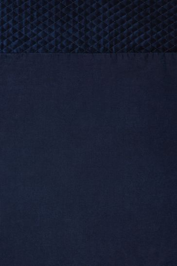 Navy Velvet Quilted Hamilton Top Panel Eyelet Lined Curtains