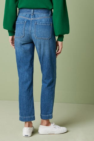 Dark Blue Cropped Utility Tapered Jeans