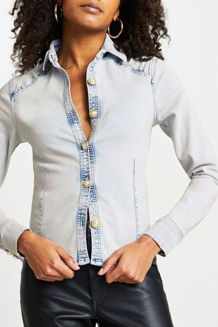 River Island Denim Light Embellished Button Shirt
