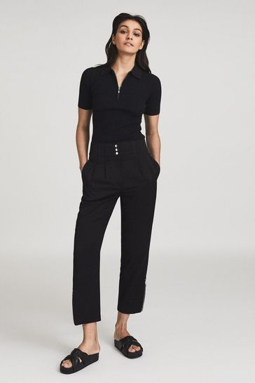 Reiss Black Blair Zip Detail Tapered Fit Trousers