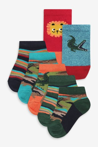 Muted Jungle 7 Pack Cotton Rich Trainer Socks