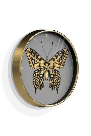 Jones Clocks Academy Gold Butterfly Wall Clock