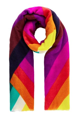 Accessorize Pink Rainbow Chevron Blanket Scarf