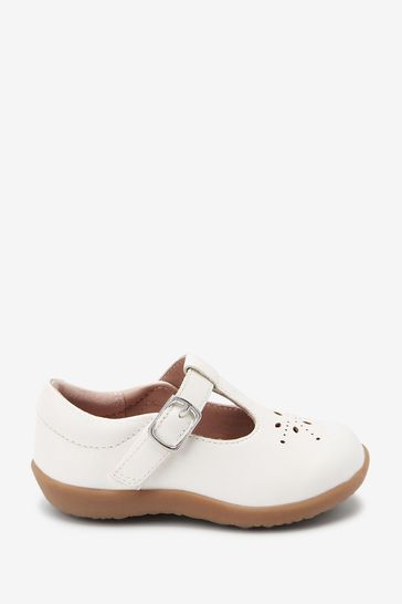 White Leather Wide Fit (G) First Walker T-Bar Shoes