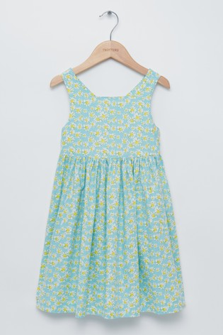Trotters London Blue Daisy Cross Back Dress