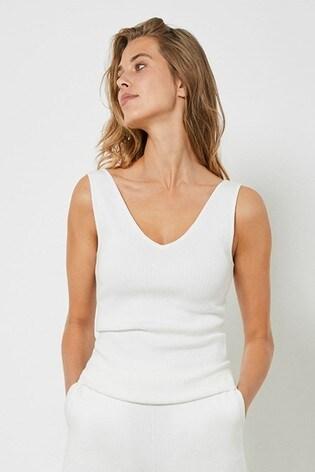 Mint Velvet Off-White Rib Knitted Vest Top