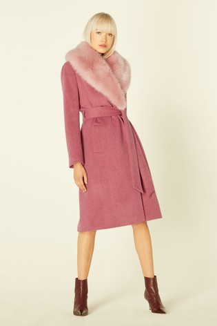 LK Bennett Pink Ava Belted Wrap Coat With Pink Faux Fur