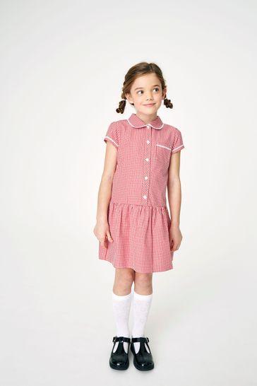 Red Drop Waist Gingham Dress (3-14yrs)