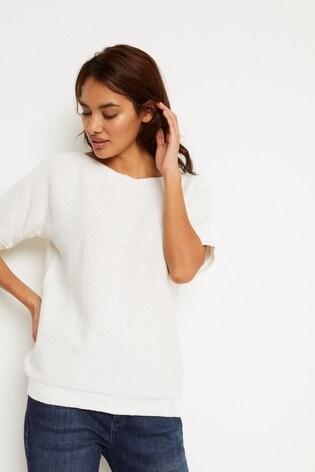 White Stuff White Rye Tape Short Sleeve Jumper