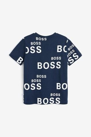 BOSS Navy All Over Logo T-Shirt