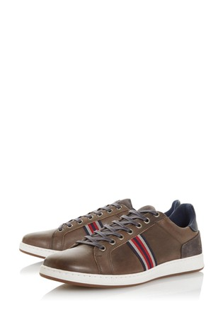Dune London Torontos Grey Leather Embroidered Stripe Trainers