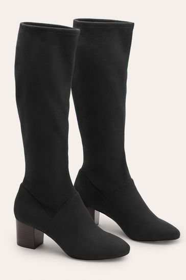 Boden Black Round Toe Stretch Boots