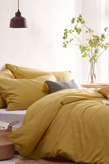 Riva Home Yellow Stonehouse Washed Cotton Linen Look Duvet Cover  And Pillowcase Set