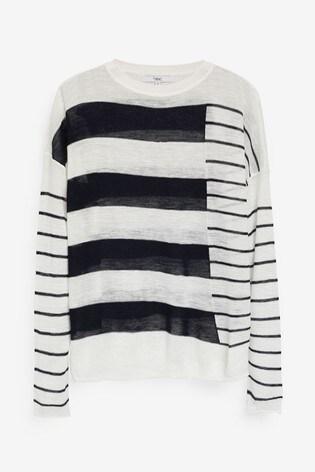 Navy/White Relaxed Linen Blend Top