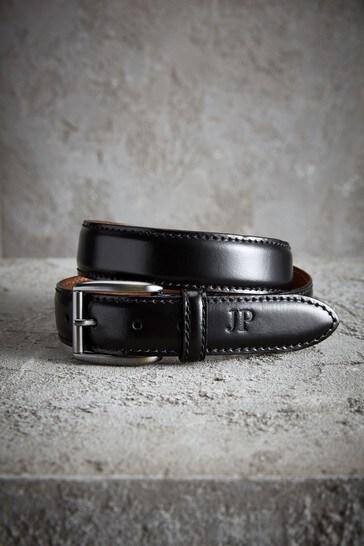 Personalised Black Signature Leather Belt