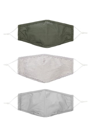 Accessorize Green 3-Pack 3D Cotton Face Coverings