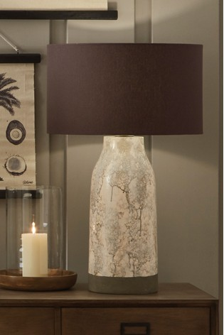 Pacific Natural Milano Tall Marble Effect Stoneware Table Lamp