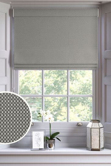 Chenille Square Grey Made To Measure Roman Blind