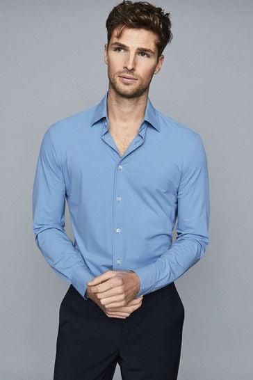 Reiss Blue Voyager Regular Fit Travel Shirt