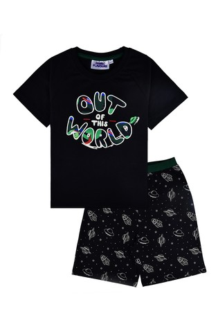 Fabric Flavours Black Out Of This World Glow In The Dark Pyjama Set
