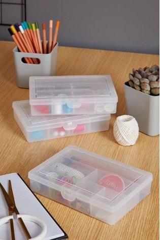 Set of 3 Wham 7 Divisions Plastic Organiser