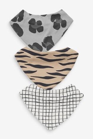 Charcoal 3 Pack GOTS Organic Animal Print Gathered Bibs
