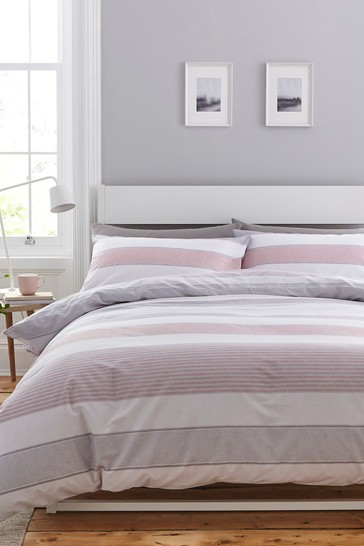 Newquay Stripe Easy Care Duvet Cover and Pillowcase Set by Catherine Lansfield