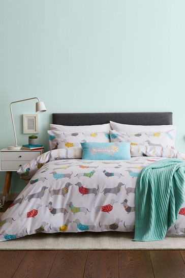 Silly Sausage Dog Easy Care Duvet Cover and Pillowcase Set by Catherine Lansfield