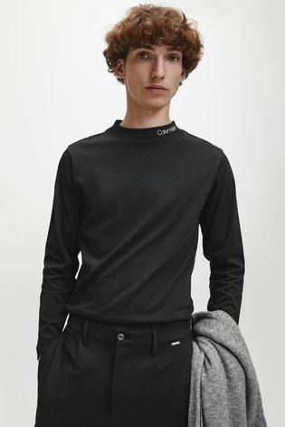 Calvin Klein Black Logo Mock Neck Long Sleeve T-Shirt