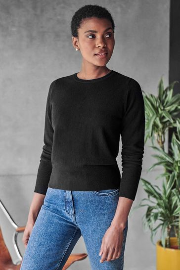 Pure Collection Black Cashmere Cropped Sweater