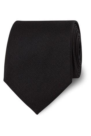 T.M. Lewin Black Panama Silk Tie