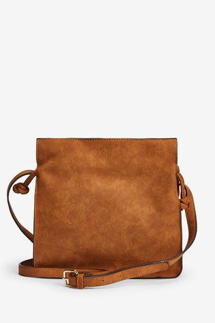 Tan Spliced Texture Mix Drawstring Bag