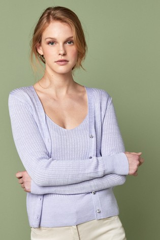 Lilac Ribbed Co-Ord Cardigan