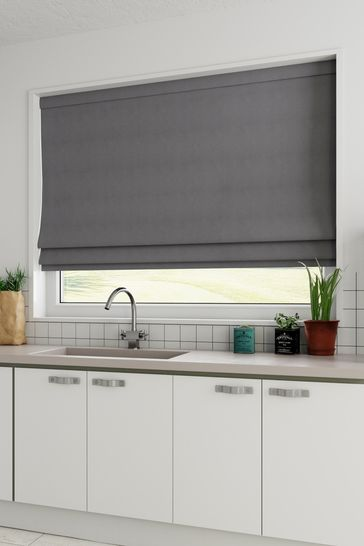 Cotton Charcoal Grey Made To Measure Roman Blind